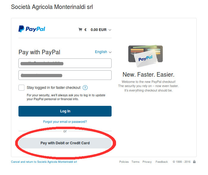 Example for No Paypal account